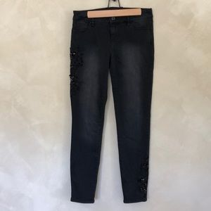 WHBM embellished skinny ankle jeans